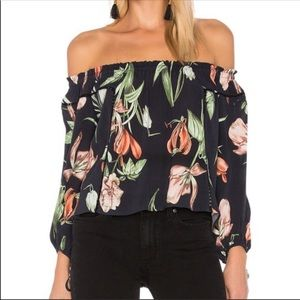 astr the label black floral off the shoulder top